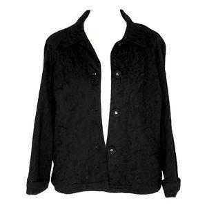 J. Jill Jacquard Floral Print Black Blazer Jacket